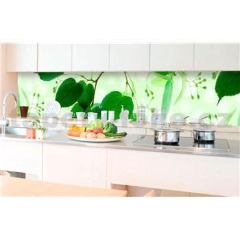 Samolepící tapety za kuchyňskou linku zelené listy rozměr 350 cm x 60 cm