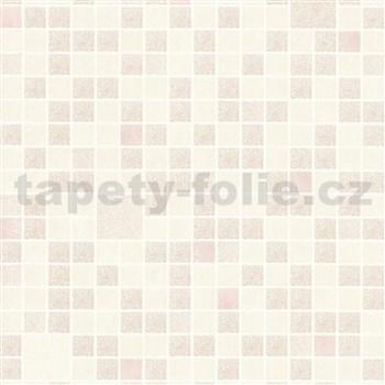 Omyvatelné vinylové tapety na zeď Bravo 3D mozaika růžovo-krémová