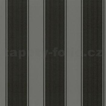 Vliesové tapety na zeď Classico - široké pruhy - šedo-černé