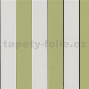 Vliesové tapety na zeď Lacantara 3 - pruhy olivově zelené - SLEVA