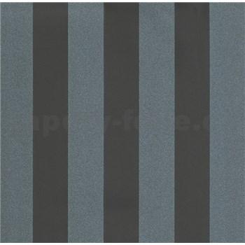 Luxusní vliesové tapety na zeď LACANTARA pruhy stříbrno-černé