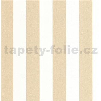 Luxusní vliesové tapety na zeď LACANTARA pruhy bílo-zlaté