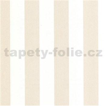 Luxusní vliesové tapety na zeď LACANTARA pruhy bílo-světle zlaté