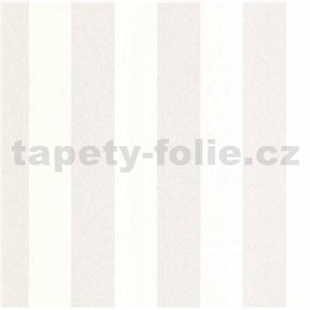 Luxusní vliesové tapety na zeď LACANTARA pruhy bílo-stříbrné