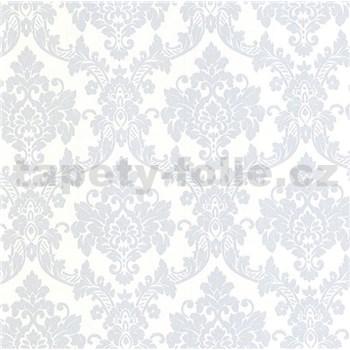 Luxusní vliesové tapety na zeď LACANTARA zámecký vzor stříbrný na bílém podkladu
