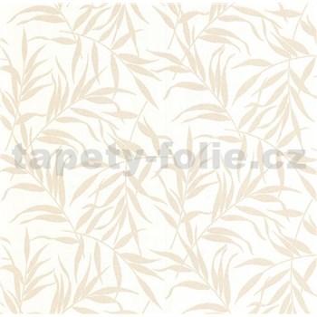 Luxusní vliesové tapety na zeď LACANTARA listy světle zlaté na bílém podkladu - POSLEDNÍ KUSY