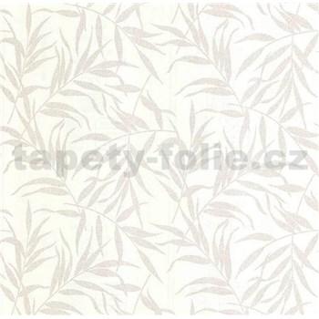 Luxusní vliesové tapety na zeď LACANTARA listy stříbrné na bílém podkladu