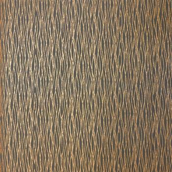 Luxusní vliesové tapety na zeď LACANTARA vlnovky měděné na černém podkladu