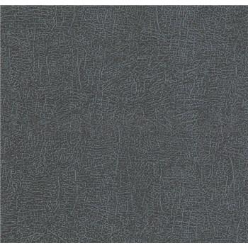 Luxusní vliesové tapety na zeď LACANTARA struktura stříbrná na černém podkladu