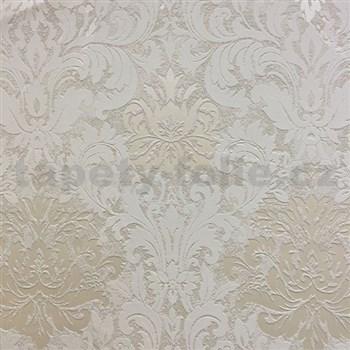 Vliesové tapety na zeď La Veneziana 3 zámecký vzor damašek bílý na světle hnědém podkladu