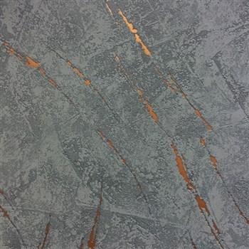 Vliesové tapety na zeď La Veneziana 3 omítkovina šedo-modrá s bronzovým detailem