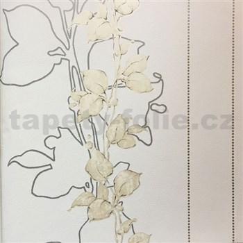 Vliesové tapety na zeď La Veneziana 3 stonky listů na světle béžovém podkladu