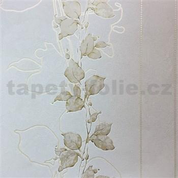 Tapety na zeď La Veneziana 3 stonky listů na světle hnědém podkladu