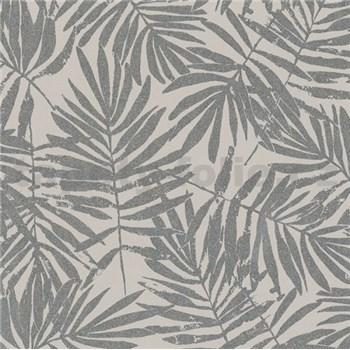 Vliesové tapety na zeď La Veneziana 4 kapradí stříbrné na hnědém podkladu