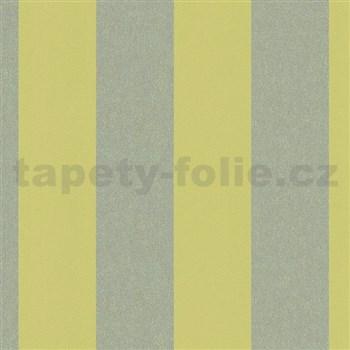 Vliesové tapety na zeď La Veneziana 4 pruhy limetkově-zlaté