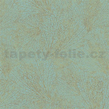 Vliesové tapety na zeď La Veneziana IV pavučina zlatá na zeleném podkladu
