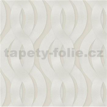 Luxusní vliesové tapety na zeď Colani Legend proplétané vlny bílé na krémovém podkladu
