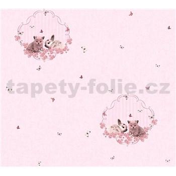 Dětské vliesové tapety na zeď Little Stars zajíček a koťátko na růžovém podkladu