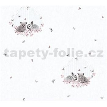 Dětské vliesové tapety na zeď Little Stars zajíček a koťátko na bílém podkladu