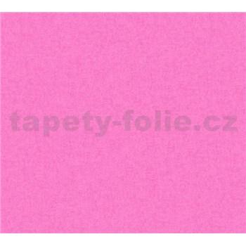 Dětské vliesové tapety na zeď Little Stars jednobarevné tmavě růžové