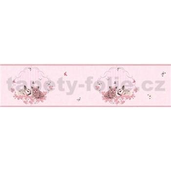 Dětské vliesové bordury Little Stars zajíček a koťátko na růžovém podkladu