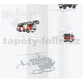 Dětské vliesové tapety na zeď Little Stars hasiči a vrtulník na šedém podkladu