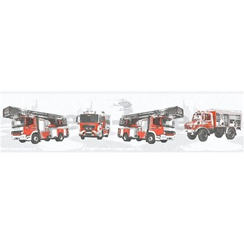 Dětské vliesové bordury Little Stars hasiči a vrtulník na šedém podkladu
