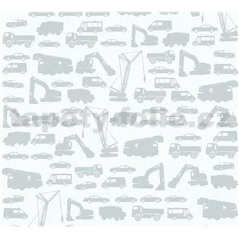 Dětské vliesové tapety na zeď Little Stars auta šedá na šedém podkladu