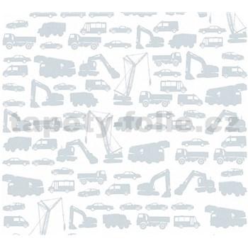 Dětské vliesové tapety na zeď Little Stars auta šedá na bílém podkladu