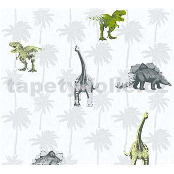 Dětské vliesové tapety na zeď Little Stars dinosauři zeleno-hnědí