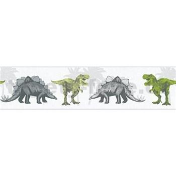 Dětské vliesové bordury Little Stars dinosauři zeleno-hnědí
