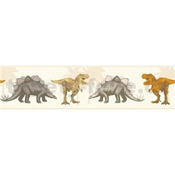 Dětské vliesové bordury Little Stars dinosauři oranžovo-hnědí