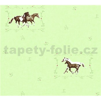 Dětské vliesové tapety na zeď Little Stars koně na zeleném podkladu
