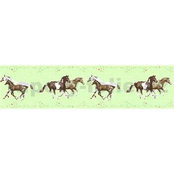 Dětské vliesové bordury Little Stars koně na zeleném podkladu