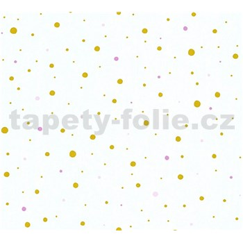 Dětské vliesové tapety na zeď Little Stars tečky zlaté a růžové na bílém podkladu