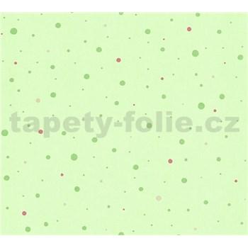 Dětské vliesové tapety na zeď Little Stars tečky zelené a růžové na zeleném podkladu