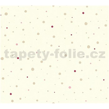 Dětské vliesové tapety na zeď Little Stars tečky zlaté a růžové na krémovém podkladu
