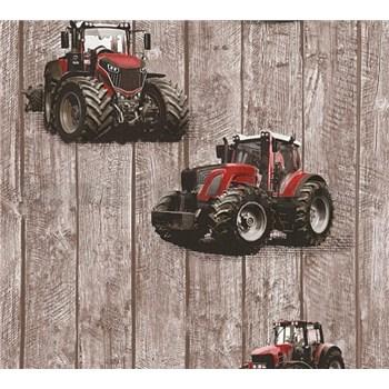 Dětské vliesové tapety na zeď Little Stars traktory červené na dřevených deskách