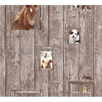Dětské vliesové tapety na zeď Little Stars zvířata na hnědém dřevěném podkladu