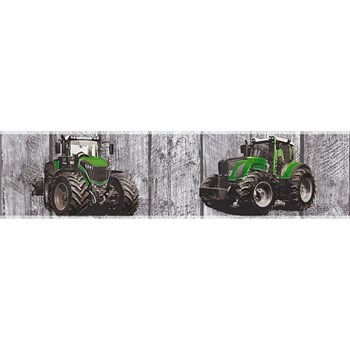 Dětské vliesové bordury Little Stars traktory zelené na dřevěných deskách