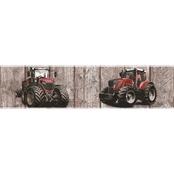 Dětské vliesové bordury Little Stars traktory červené na dřevěných deskách