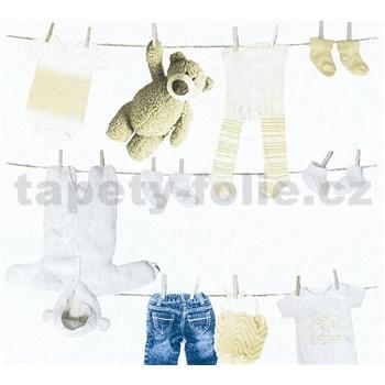 Dětské vliesové tapety na zeď Little Stars dětské oblečení modro-hnědé