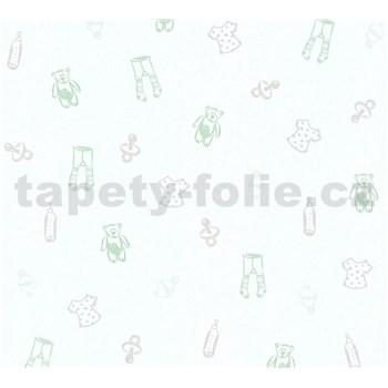 Dětské vliesové tapety na zeď Little Stars medvídci a oblečení zeleno-stříbrné