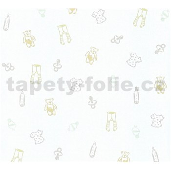 Dětské vliesové tapety na zeď Little Stars medvídci a oblečení krémovo-stříbrné