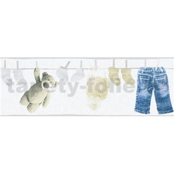 Dětské vliesové bordury Little Stars dětské oblečení modro-hnědé