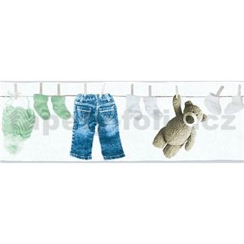 Dětské vliesové bordury Little Stars dětské oblečení modro-zelené