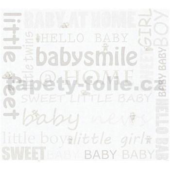 Dětské vliesové tapety na zeď Little Stars mevídci se světle hnědými nápisy
