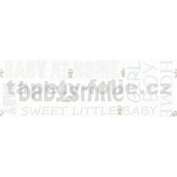Dětské vliesové bordury Little Stars medvídci se zelenými nápisy