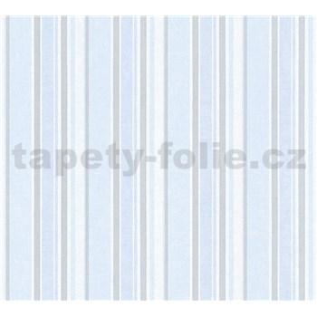 Dětské vliesové tapety na zeď Little Stars pruhy modro-stříbrné