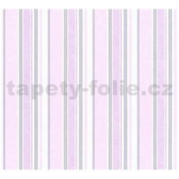 Dětské vliesové tapety na zeď Little Stars pruhy růžovo-stříbrné